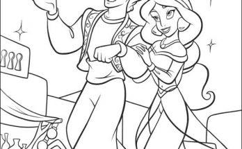 Dibujo Un paseo de Aladdín y Jasmine