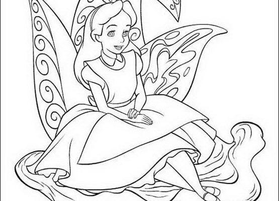 Dibujo Alicia se ha sentado en una planta