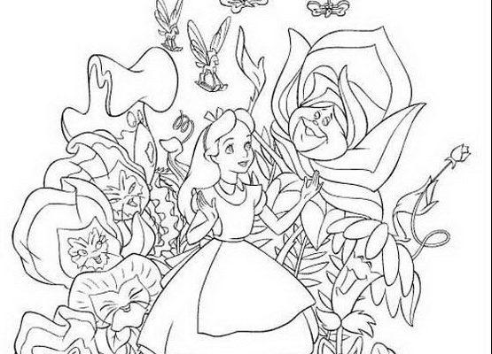 Dibujo Alicia y las flores parlantes