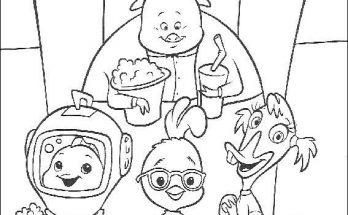 Dibujo Chicken Little va al teatro con sus amigos