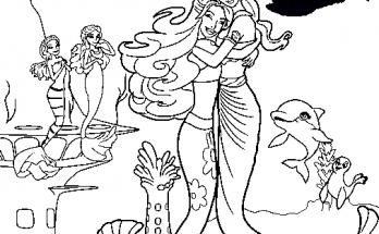 Dibujo Barbie sirenita abrazando a su madre