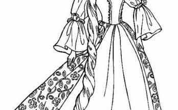 Dibujo Princesa de larga melena