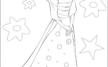 Dibujo Barbie con un vestido muy elegante