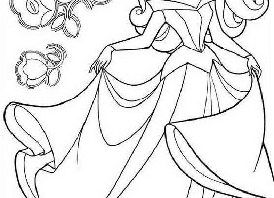 Dibujo Bella Durmiente y flores