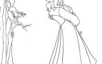 Dibujo Bella Durmiente con pajarillos del bosque