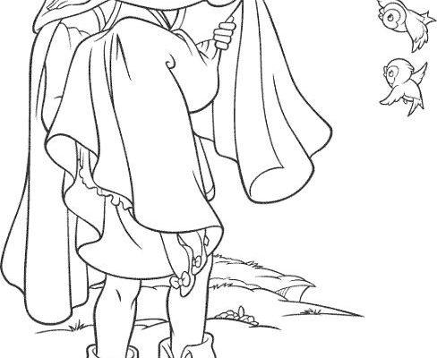 Dibujo Blancanieves en brazos del Príncipe