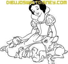 Dibujo Blancanieves y un ave