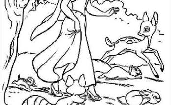 Dibujo Blancanieves corre con sus amigos