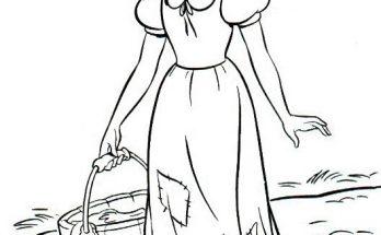 Dibujo Blancanieves trae agua del pozo