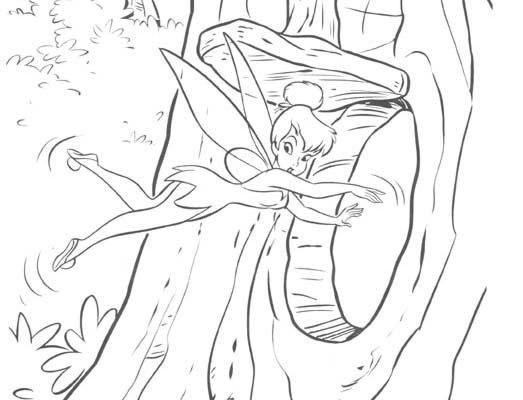 Dibujo Campanilla entra en un árbol