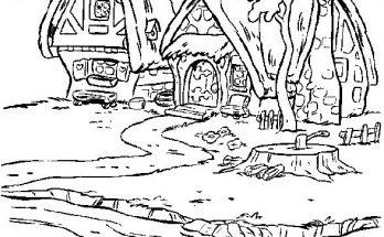 Dibujo Las casitas de Blancanieves y siete enanitos