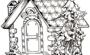 Dibujo Casita de chocolate para colorear en Navidad