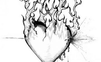 Dibujo Corazón de amor en llamas