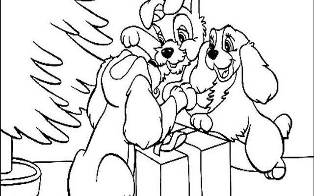 Dibujo La Dama y el Vagabundo en Navidad