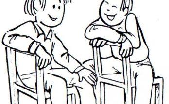 Dibujo Dos amigos riendo juntos