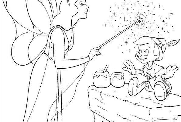 Dibujo Pinocho con su hada madrina