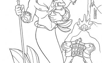 Dibujo La Sirenita en brazos de su papá