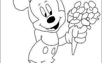 Dibujo Mickey Mouse con un ramo de flores