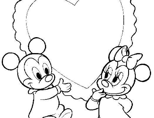 Dibujo Baby Mickey con Corazon