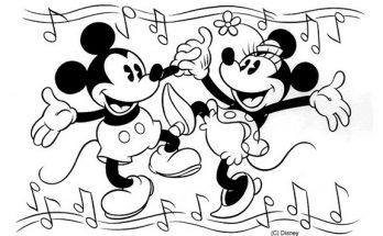 Dibujo Mickey y Minnie bailando
