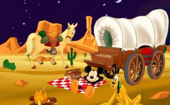 Dibujo Mickey y Pluto en el lejano Oeste
