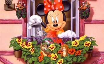 Dibujo Minnie riega sus plantas