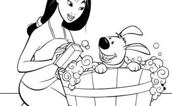Dibujo Mulan baña a su perrito