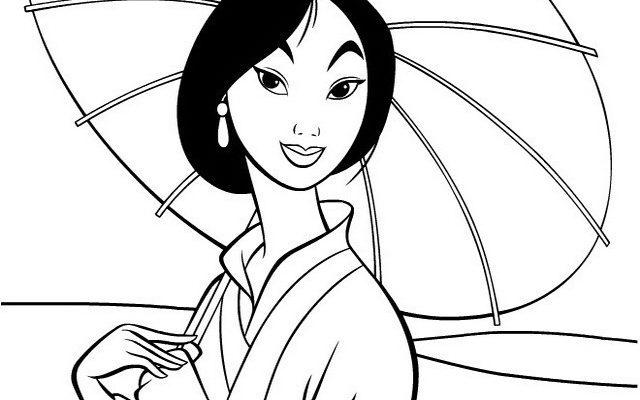Dibujo Mulan se protege con su sombrilla