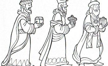 Dibujo Los Reyes Magos con presentes