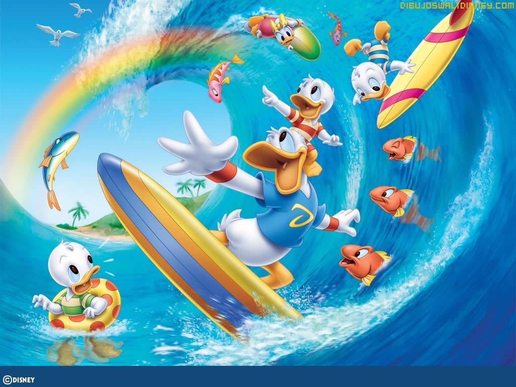 Resultado de imagen de el pato donald haciendo surf