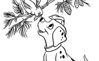 Dibujo Perrito 101 Dalmatas con dos pajaritos