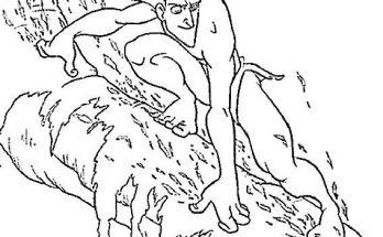 Dibujo Deslizándose por los árboles con Tarzan