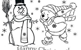 Dibujo Winnie Pooh patinando en Navidad