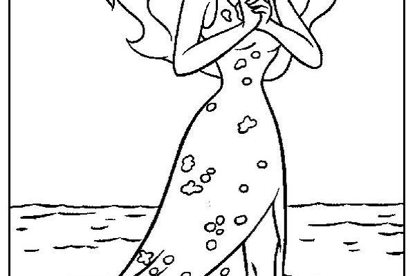 Dibujo Ariel camina por el agua