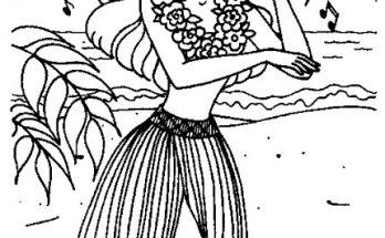 Dibujo Barbie en Hawái