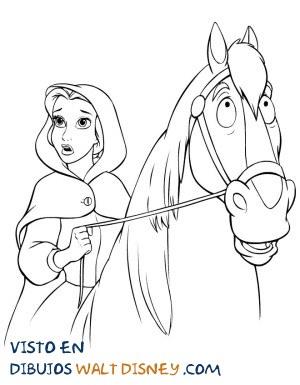 Dibujo Bella montada a caballo