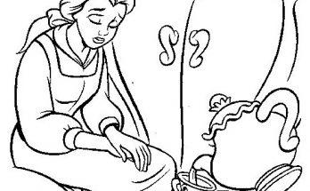Dibujo Bella y los objetos parlantes
