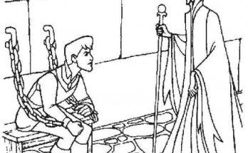 Dibujo La bruja tiene preso al príncipe
