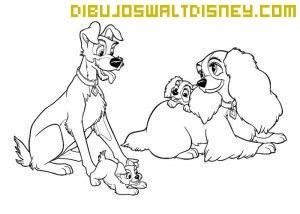 Dibujo Cachorros de Dama y Vagabundo