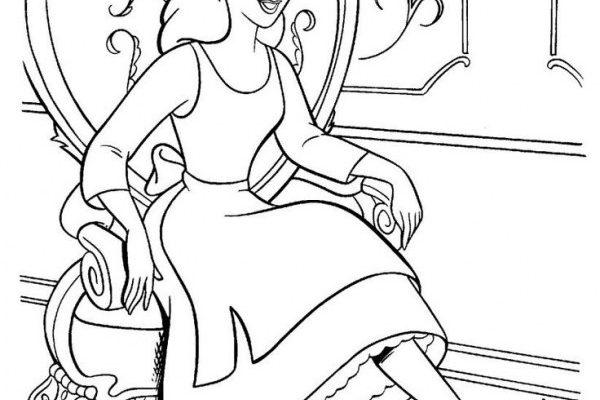 Dibujo Cenicienta probando su zapato mágico