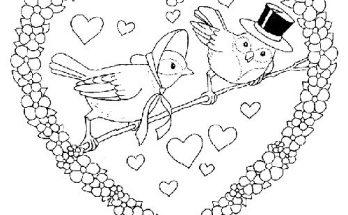 Dibujo Dos pájaros y un corazón