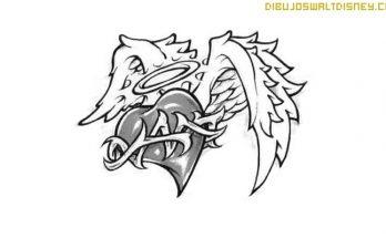 Dibujo Corazón con alas y espinas