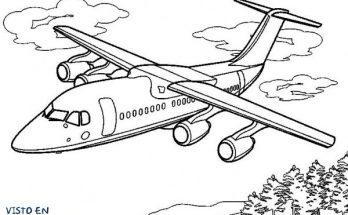 Dibujo Avión sobrevolando los árboles