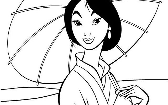 Dibujo Mulan bajo su sombrilla