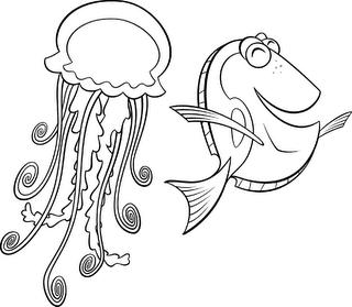 Dibujo Dory y la medusa