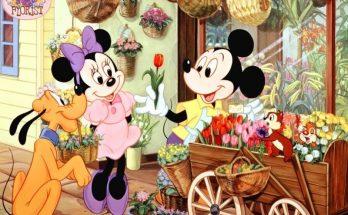 Dibujo Mickey y su puesto de flores