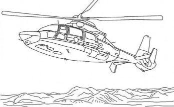 Dibujo El helicóptero sobrevuela las montañas