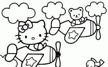 Dibujo Hello Kitty en avión