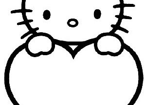 Dibujo Hello Kitty y su corazón