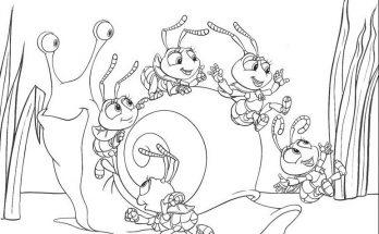 Dibujo Dot y sus amigos juegan con un caracol